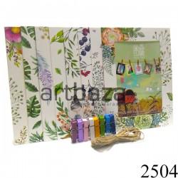 """Набор фоторамок на бечевке (бумажные рамки для фото с прищепками), """"Полевые цветы"""", 8 штук"""