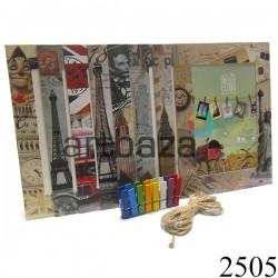 """Набор фоторамок с прищепками на веревке (бумажные рамки для фото с цветными прищепками), """"Путешествия"""", 8 штук"""