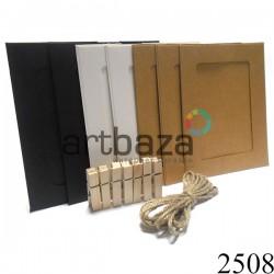 """Набор фоторамок с прищепками на веревке (бумажные рамки для фотографий с прищепкамина бечевке), """"Крафт"""", 7 штук"""