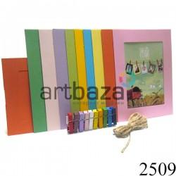 """Набор цветных фоторамок на бечевке (бумажные рамки для фотографий с прищепками), """"Прямоугольники цветные"""", 10 штук"""