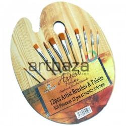 Набор синтетических кистей для рисования, 12 шт. + деревянная палитра, Baroque
