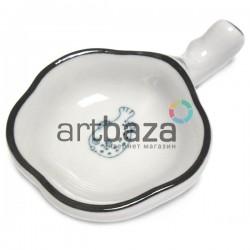 Фарфоровое блюдце - подставка для кистей из белой керамики с рисунком рыбы | Товары для китайской каллиграфии