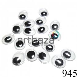 Набор косых глазок с бегающим (подвижным) зрачком для игрушек и кукол, 10 x 8 мм., 18 штук