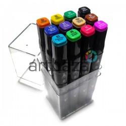 Набор художественных маркеров Tinge Twin для рисования и скетчей, 12 цветов | Аналоги маркеров TOUCH TWIN в Украине