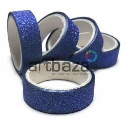 Скотч декоративный бумажный с глиттером, голубой, 15 мм., 3 метра | Глиттерный декоративный скотч для украшения подарков