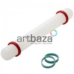 Скалка пластиковая с ограничителями для полимерной глины и мастики, Ø2.6 см., длина 22 см., Fondant