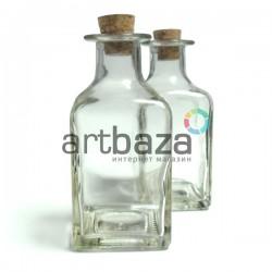 Стеклянная бутылка для жидкости и специй с корковой пробкой (диаметр горлышка 1.8 см., высота 11.3 см.), REGINA