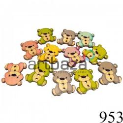 """Набор деревянных декоративных пуговиц """"Мишки цветные"""", 2.4 x 2.8 см., 12 штук, REGINA"""