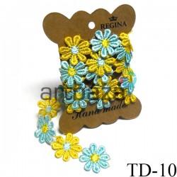 Тесьма декоративная Ромашка желто - голубая, толщина - 2.8 см., длина - 0.8 м., REGINA | Декоративная тесьма в Украине