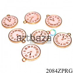 """Металлическая подвеска """"Часы розовые"""" для скрапбукинга, Ø14 мм."""