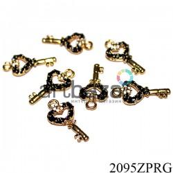 """Металлическая подвеска """"Ключ черный"""" для скрапбукинга, 23 x 11 мм."""