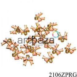 """Металлическая подвеска """"Бантик розовый с камнем"""" для скрапбукинга, 10 х 10 мм."""