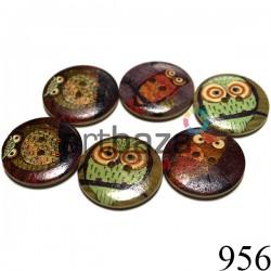 """Набор деревянных декоративных пуговиц """"Сова"""", Ø30 мм., 6 штук, REGINA"""