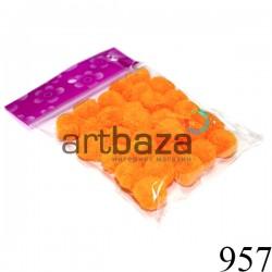 Набор декоративных помпонов для творчества и поделок, оранжевых, Ø1.5 см., REGINA