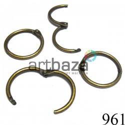 """Набор колец металлических """"античная латунь"""" для переплета (скрапбукинга), разъёмных, Ø3 см., 4 штуки, REGINA"""