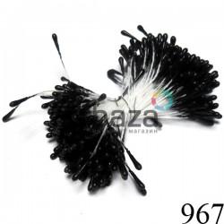 Тычинки для цветов двусторонние, черные матовые, размер Ø2 мм., длина 6 см., REGINA
