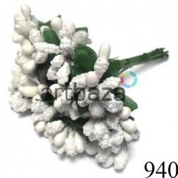 Тычинки для цветов односторонние Микс, белые, размер Ø6 - 12 мм., длина 9 см., REGINA