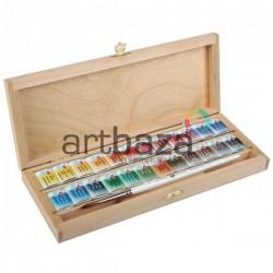 Набор акварельных красок в кюветах, 24 цвета, в деревянной коробке, Белые Ночи, ЗХК, Невская Палитра