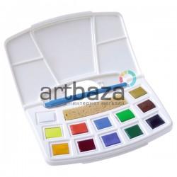 Набор художественных акварельных красок, 12 цветов + кисть + губка, Art Creation, Royal Talens