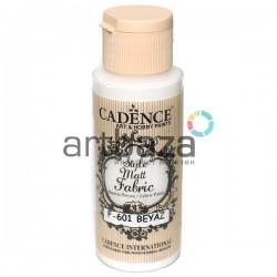 Краска по ткани матовая Style Matt Fabric, White / Белый, 59 мл., Cadence