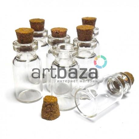 Декоративные маленькие стеклянные баночки и бутылочки, флаконы с корковой пробкой для парфюмерии, украшения и декора