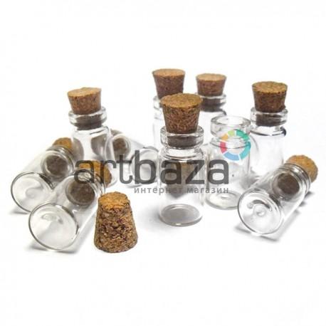 Декоративная стеклянная мини бутылочка с пробкой из корка, Ø1.1 см., высота 2.2 см. купить в Киеве и Украине