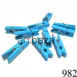 Набор голубых деревянных декоративных прищепок, 0.7 x 3.5 см., 10 штук, REGINA