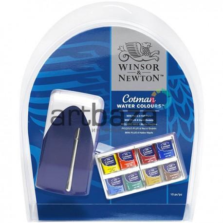 Набор акварельных красок в пластиковом холдере Mini Plus, 8 цветов + кисть, Winsor & Newton™