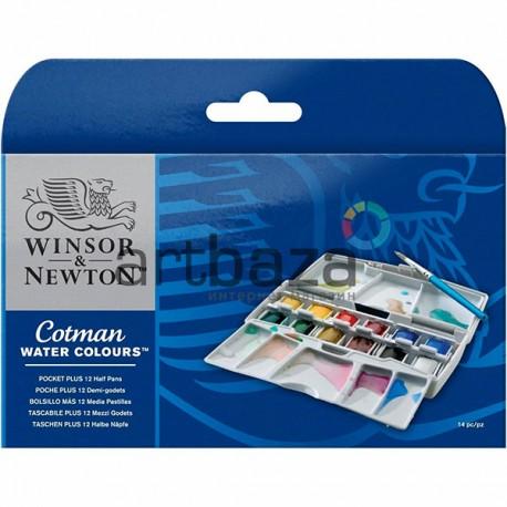 Набор художественных акварельных красок в пластиковом пенале, 12 цветов + кисть, Winsor & Newton A29404B (0390373)