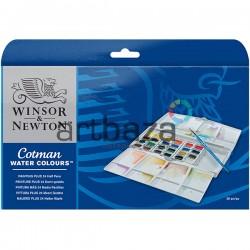 Набор художественных акварельных красок в пластиковом пенале, 24 цвета + кисть, Winsor & Newton