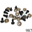 Набор черных декоративных носиков с креплением, 6 х 9 мм., длина ножки 1.1 см., 10 штук, REGINA