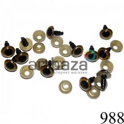 Набор каре - черных декоративных глаз с креплением для игрушек и кукол, Ø9 мм., длина ножки 1 см., 12 штук, REGINA