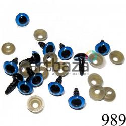 Набор сине - черных декоративных глаз с креплением для игрушек и кукол, Ø9 мм., длина ножки 1 см., 12 штук, REGINA