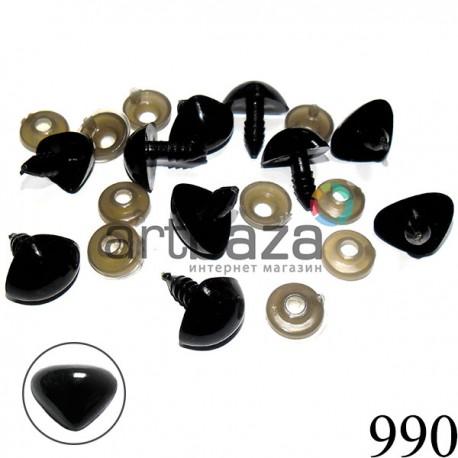 Набор угольно - черных декоративных носиков с креплением, 12 х 17 мм., длина ножки 1.3 см., 10 штук, REGINA ↟ 2000740227635