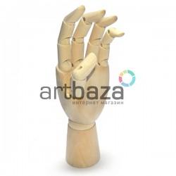 """Деревянный подвижный манекен левой кисти руки, 7"""" (17.5 см.), CONDA"""