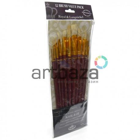 """Набор кистей из щетины Royal Langnickel """"White Bristle"""", 12 штук купить в Украине в художественном интернет магазине ARTBAZA"""