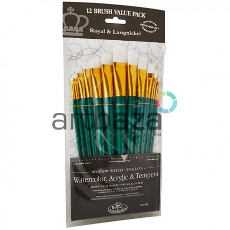 """Набор художественных синтетических кистей Royal Langnickel """"White Taklon"""", 12 штук на короткой ручке, RSET-9309 купить в Украине"""