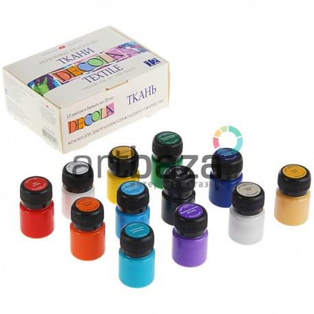 Набор акриловых красок по ткани, 12 цветов по 20 мл., DECOL, арт.: 4141216 / 4607010589417
