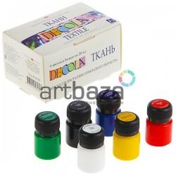 Набор художественных акриловых красок  по ткани, 6 цветов по 20 мл., DECOLA | Лучшие краски для росписи тканей DECOLA в Украине
