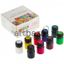 Набор акриловых красок по стеклу и керамике, 9 цветов по 20 мл., Deсola