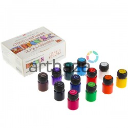 Набор акриловых красок по стеклу и керамике, 12 цветов по 20 мл., Decola | 4041114 | Краски для росписи по стеклу и керамике