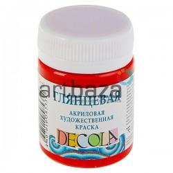 Краски глянцевые акриловые, красная, 50 мл., Decola