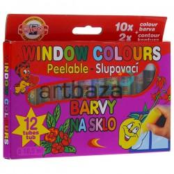 Набор красок для рисования на стекле, 10.5 мл., 10+2 цветов, Koh-I-Noor