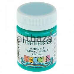 Краска акриловая по ткани, бирюзовая, 50 мл., DECOLA