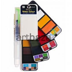 Набор художественных акварельных красок, 18 цветов + кисть brushpen + палитра, Superior