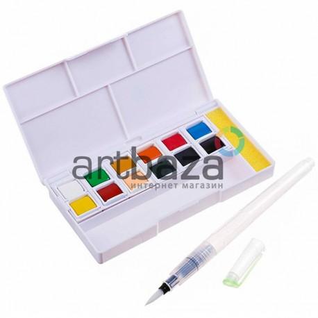 Набор художественных акварельных красок, 12 цветов + кисть brushpen + спонж, Superior, арт.: 93373 (6971001793373)