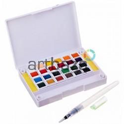 Набор художественных акварельных красок, 24 цвета + палитра + кисть brushpen + спонж, Superior