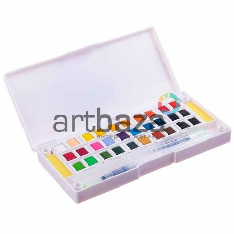 Набор художественных акварельных красок, 30 цветов + палитра + кисти brushpen + спонжи, Superior, арт.: 93311 (6971001793311)