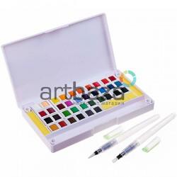 Набор художественных акварельных красок, 36 цветов + палитра + кисти brushpen + спонжи, Superior