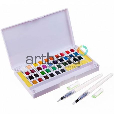 Набор художественных акварельных красок, 36 цветов + палитра + кисти brushpen + спонжи, Superior, арт.: 93359 (6971001793359)